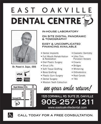 East Oakville Dental Centre (905-257-1211) - Display Ad -