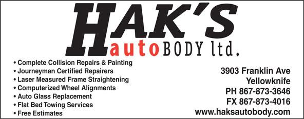 Hak's Auto Body Ltd (867-873-3646) - Display Ad -