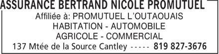 Promutuel Assurance L'Outaouais (819-827-3676) - Annonce illustrée======= - Affiliée à: PROMUTUEL L'OUTAOUAIS HABITATION - AUTOMOBILE AGRICOLE - COMMERCIAL
