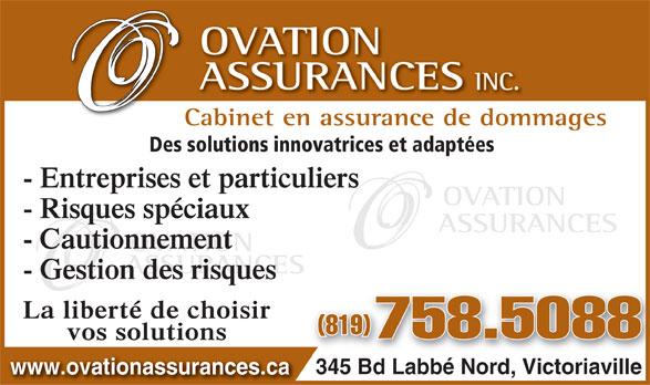Ovation Assurances Inc (819-758-5088) - Annonce illustrée======= -