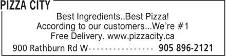 Pizza City (905-896-2121) - Annonce illustrée======= -