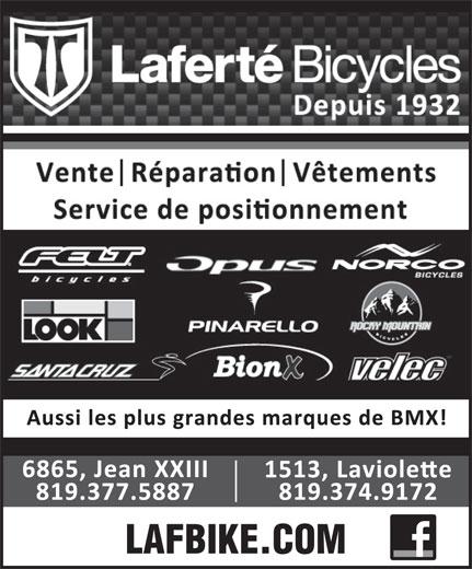 Laferté Bicycles (819-374-9172) - Annonce illustrée======= -