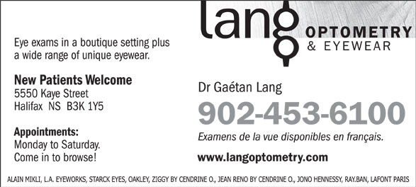 Lang Optometry & Eyewear (902-453-6100) - Annonce illustrée======= - 902-453-6100