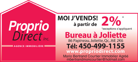 Mario Bertrand Courtier Immobilier Agréé (450-753-5556) - Display Ad -