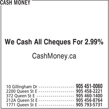 Cash Money (905-451-0060) - Display Ad - We Cash All Cheques For 2.99% CashMoney.ca