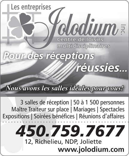 Jolodium Inc (Les Entreprises) (450-759-7677) - Display Ad -