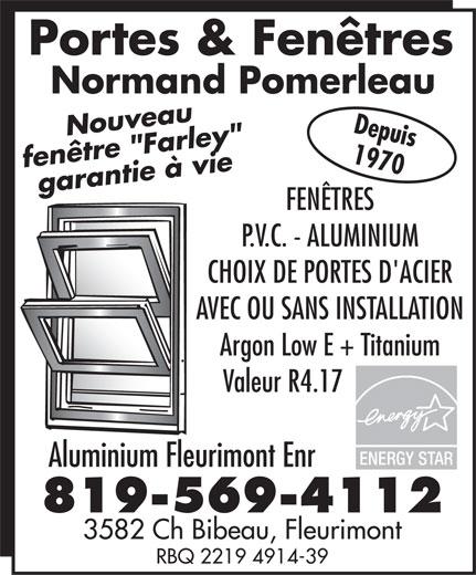 Fleurimont Aluminium Enr (819-569-4112) - Annonce illustrée======= -