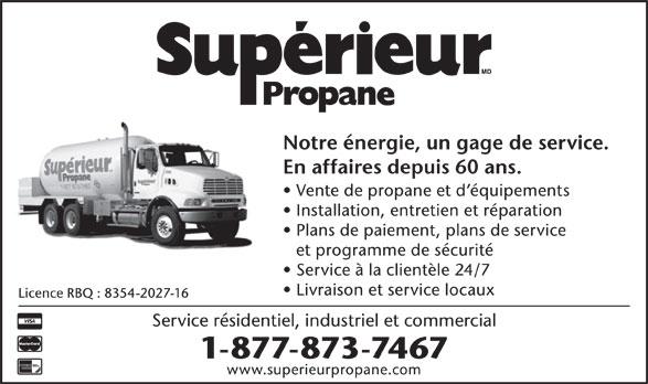 Supérieur Propane (1-877-873-7467) - Annonce illustrée======= -