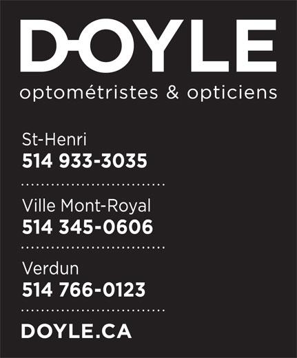 Doyle Optométristes & Opticiens (514-933-3035) - Display Ad -