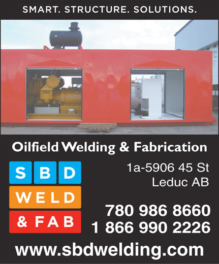 Seabox Depot (780-986-8660) - Display Ad - Oilfield Welding & Fabrication 1a-5906 45 St Leduc AB 780 986 8660 1 866 990 2226 www.sbdwelding.com