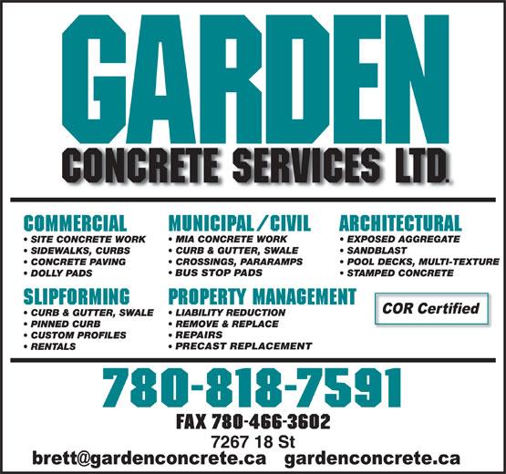 Garden Concrete Services Ltd (780-818-7591) - Annonce illustrée======= - BUS STOP PADS REPAIRS PRECAST REPLACEMENT FAX 780-466-3602 PRECAST REPLACEMENT FAX 780-466-3602 REPAIRS BUS STOP PADS