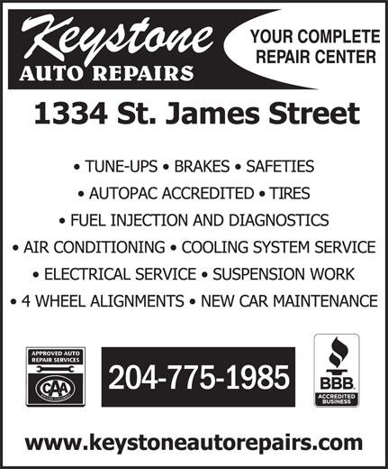 Keystone Auto Repairs (204-775-1985) - Display Ad - 204-775-1985