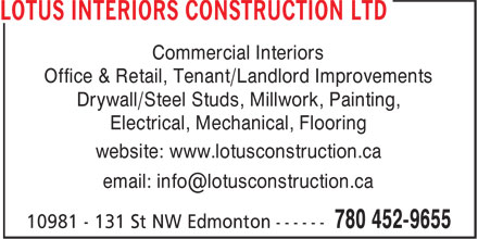 Lotus Interiors Construction Ltd (780-452-9655) - Display Ad -