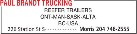 Paul Brandt Trucking (204-746-2555) - Display Ad - REEFER TRAILERS ONT-MAN-SASK-ALTA BC-USA