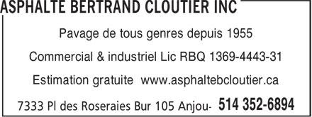 Asphalte Bertrand Cloutier Inc (514-352-6894) - Annonce illustrée======= - Pavage de tous genres depuis 1955 Commercial & industriel Lic RBQ 1369-4443-31 Estimation gratuite www.asphaltebcloutier.ca  Pavage de tous genres depuis 1955 Commercial & industriel Lic RBQ 1369-4443-31 Estimation gratuite www.asphaltebcloutier.ca  Pavage de tous genres depuis 1955 Commercial & industriel Lic RBQ 1369-4443-31 Estimation gratuite www.asphaltebcloutier.ca  Pavage de tous genres depuis 1955 Commercial & industriel Lic RBQ 1369-4443-31 Estimation gratuite www.asphaltebcloutier.ca  Pavage de tous genres depuis 1955 Commercial & industriel Lic RBQ 1369-4443-31 Estimation gratuite www.asphaltebcloutier.ca  Pavage de tous genres depuis 1955 Commercial & industriel Lic RBQ 1369-4443-31 Estimation gratuite www.asphaltebcloutier.ca  Pavage de tous genres depuis 1955 Commercial & industriel Lic RBQ 1369-4443-31 Estimation gratuite www.asphaltebcloutier.ca  Pavage de tous genres depuis 1955 Commercial & industriel Lic RBQ 1369-4443-31 Estimation gratuite www.asphaltebcloutier.ca
