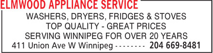 Elmwood Appliance Service (204-669-8481) - Annonce illustrée======= - WASHERS, DRYERS, FRIDGES & STOVES TOP QUALITY - GREAT PRICES SERVING WINNIPEG FOR OVER 20 YEARS
