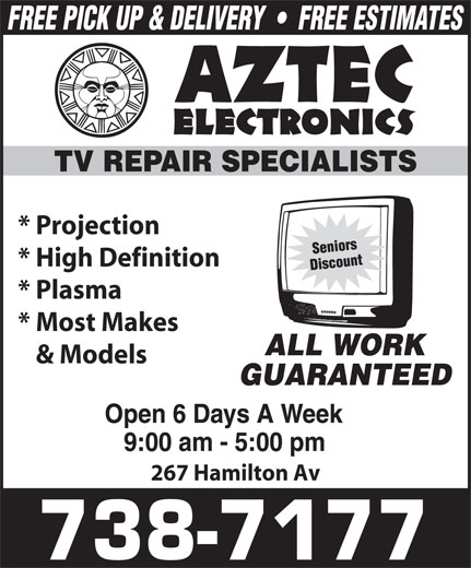 Aztec Electronics (709-738-7177) - Annonce illustrée======= - * Projection * High Definition * Plasma * Most Makes & Models 267 Hamilton Av * Projection * High Definition * Plasma * Most Makes & Models 267 Hamilton Av