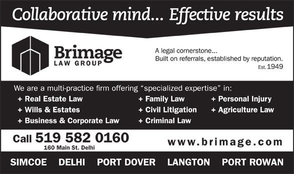 Brimage Law Group (519-582-0160) - Annonce illustrée======= - 160 Main St. Delhi