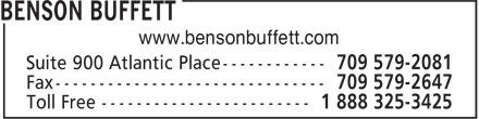 Benson Buffett (709-579-2081) - Annonce illustrée======= - www.bensonbuffett.com