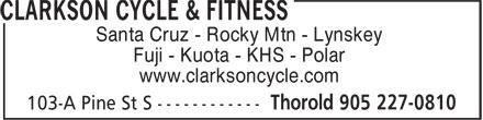 Clarkson Cycle & Fitness (905-227-0810) - Annonce illustrée======= - Santa Cruz - Rocky Mtn - Lynskey Fuji - Kuota - KHS - Polar www.clarksoncycle.com  Santa Cruz - Rocky Mtn - Lynskey Fuji - Kuota - KHS - Polar www.clarksoncycle.com