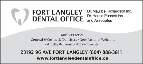 Fort Langley Dental Office (604-888-3811) - Annonce illustrée======= - Dr. Maurice Richardson Inc. Dr. Harold Punnett Inc. and Associates www.fortlangleydentaloffice.ca