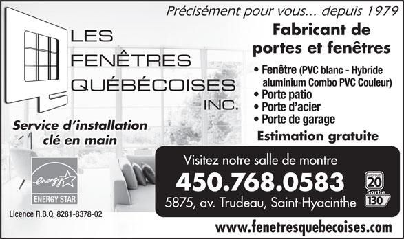 Fenêtres Québecoises Inc (Les) (450-774-1244) - Annonce illustrée======= -