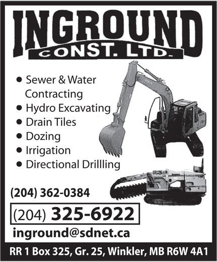 Inground Construction Ltd (204-325-6922) - Annonce illustrée======= -