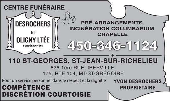Centre Funéraire Desrochers & Oligny Ltée (450-346-1124) - Annonce illustrée======= -
