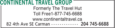 Continental Travel Group (204-745-6688) - Annonce illustrée======= - Formerly The Travel Hut Toll Free1-877-745-6688 www.continentaltravel.ca
