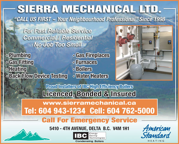 sierra mechanical ltd 5410 4 ave  delta  bc delta cable fireplace channel gas fireplaces delta bc