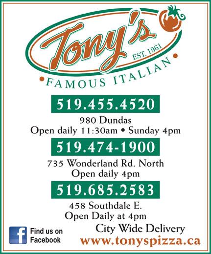 Tony's Famous Italian Restaurant (519-455-4520) - Annonce illustrée======= -