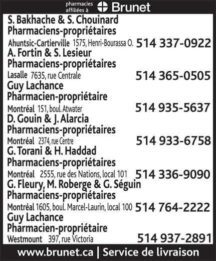 Brunet Pharmacies Affiliées (514-935-5637) - Annonce illustrée======= -