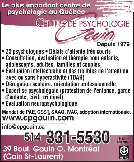 Ads Centre de Psychologie Gouin Inc