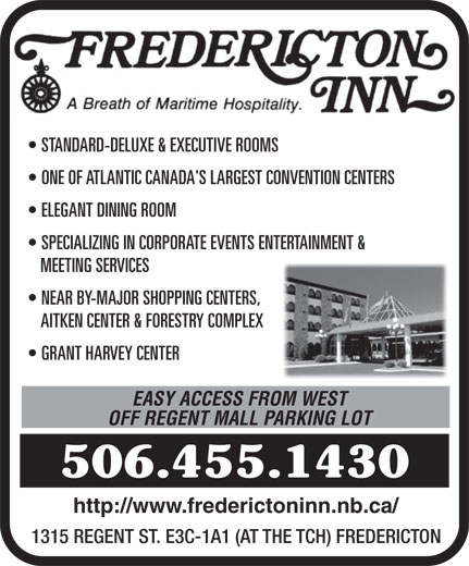 Fredericton Inn (506-455-1430) - Display Ad -