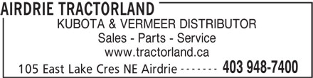 Airdrie Tractorland (403-948-7400) - Display Ad -