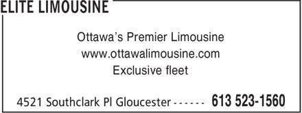 Elite Limousine (613-523-1560) - Display Ad - Ottawa's Premier Limousine www.ottawalimousine.com Exclusive fleet
