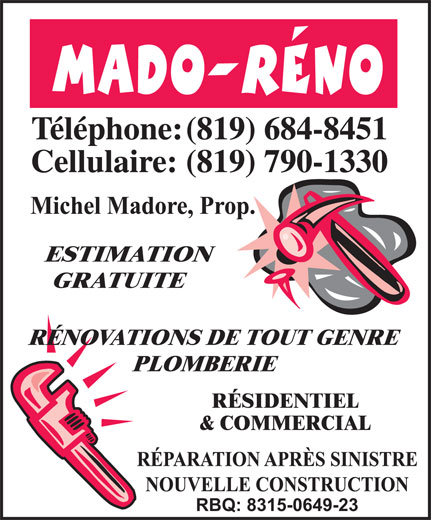 Mado-Réno-Plomberie-Rénovation (819-684-8451) - Annonce illustrée======= -