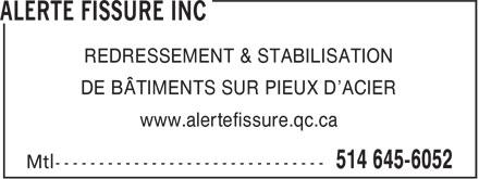 Alerte Fissure Inc (514-645-6052) - Annonce illustrée======= - REDRESSEMENT & STABILISATION DE BÂTIMENTS SUR PIEUX D'ACIER www.alertefissure.qc.ca