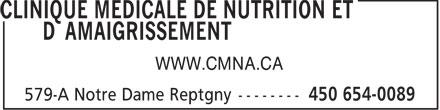 Clinique Médicale de Nutrition et d'Amaigrissement (450-654-0089) - Annonce illustrée======= - WWW.CMNA.CA