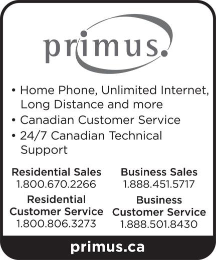 Primus Canada (1-800-670-2266) - Display Ad -