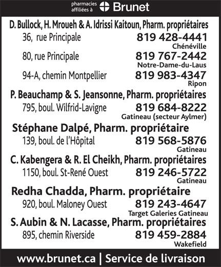 Pharmacie Philippe Beauchamp Et Sylvie Jeansonne (819-684-8222) - Annonce illustrée======= -