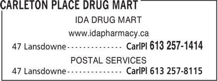 Carleton Place IDA Drugmart (613-257-1414) - Annonce illustrée======= - www.idapharmacy.ca POSTAL SERVICES IDA DRUG MART