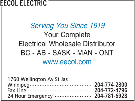 EECOL Electric (204-774-2800) - Display Ad - Serving You Since 1919 Your Complete Electrical Wholesale Distributor BC - AB - SASK - MAN - ONT www.eecol.com