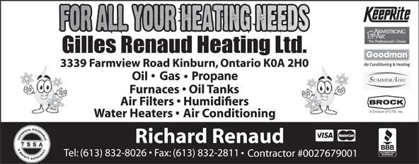 Gilles Renaud Heating Ltd (613-832-8026) - Annonce illustrée======= -