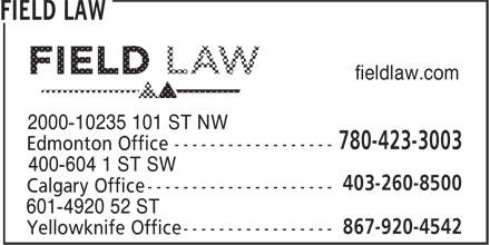 Field Law (780-423-3003) - Annonce illustrée======= - fieldlaw.com