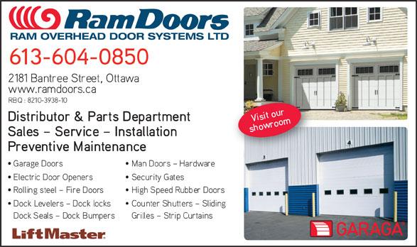 Ram Overhead Door Systems Ltd (613-749-2138) - Annonce illustrée======= - RAM OVERHEAD DOOR SYSTEMS LTD