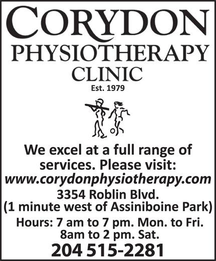 Corydon Physiotherapy Clinic (204-925-0380) - Annonce illustrée======= - www.corydonphysiotherapy.com 204 515-2281