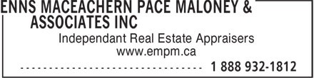 Enns MacEachern Pace Maloney & Associates Inc (1-888-932-1812) - Display Ad - www.empm.ca Independant Real Estate Appraisers