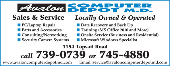 Avalon Computer Depot M.D. (709-745-4880) - Annonce illustrée======= - 739-0739 or 745-4880 Sales & Service Locally Owned & Operated PC/Laptop Repair Data Recovery and Back Up Parts and Accessories Training (MS Office 2010 and More) Consulting/Networking Onsite Service (Business and Residential) Security Camera Systems Microsoft Windows Specialist 1154 Topsail Road call