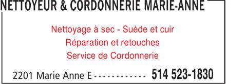 Nettoyeur & Cordonnerie Marie-Anne (514-523-1830) - Annonce illustrée======= - Nettoyage à sec - Suède et cuir Réparation et retouches Service de Cordonnerie